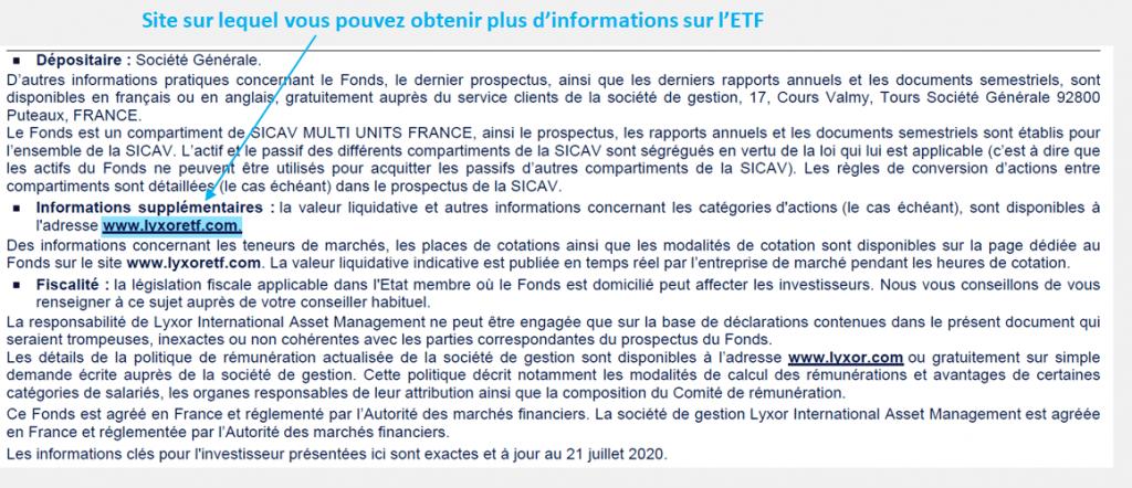 Informations pratiques à propos de l'ETF