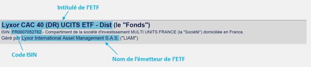 Informations générales sur l'ETF